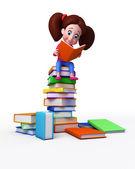 Linda chica está sentada en los libros — Foto de Stock