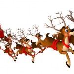 Santa with sleigh — Stock Photo