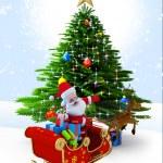 Santa claus with his sleigh. — Stock Photo