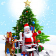 Santa & Christmas tree,gift list — Stock Photo