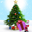 Royalty-Free Stock Photo: Santa with Gift and christmas tree.