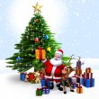 Santa with his reindeer and Gifts — Stock Photo