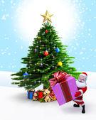 圣诞老人与礼物和圣诞树. — 图库照片
