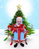 Santa claus met een groot cadeau-doos. — Stockfoto