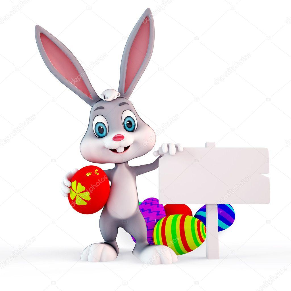 可爱复活节兔子与白色标志和丰富多彩的蛋的 3d 呈现的插图— 照片