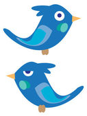 Birdies azules — Vector de stock