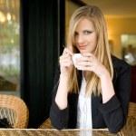 Elegant young blond woman on cofffee break. — Stock Photo #10590933