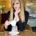 Elegant young blond woman on cofffee break. — Stock Photo #10590942