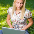 Cute young blond having fun with laptop outdoors. — Stock Photo #8184231