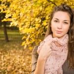 Beautiful autumn with beautiful brunette. — Stock Photo #8185096