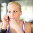 Gorgoeus young blonde talking on her mobile phone. — Stock Photo #8187832