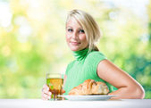 Fit young blond's breakfast. — Stock Photo