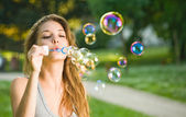 As easy as blowing bubbles. — Stock Photo