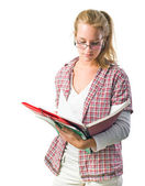 Pretty young student girl reading exercise books — Stock Photo