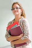Cute young blond student girl. — Stock Photo