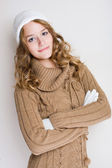 Fashionable young woman in winter outfit. — Stock Photo