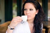 Připojte se ke mně na kávu! — Stock fotografie