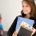 mutlu genç öğrenci kız — Stok fotoğraf