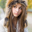 Cuteness in fur hat. — Foto Stock