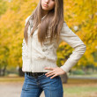 Beautiful young model dressed for chilly weather. — Stock Photo