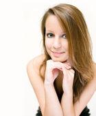 Closeup portrait of friendly beautiful woman. — Stock Photo