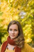 Fall fashion portrait with foliage. — Stock Photo