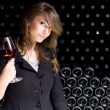 Beautiful young woman tasting wine. — Foto Stock