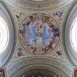 Beautiful church dome with organ and frescos. — Stock Photo