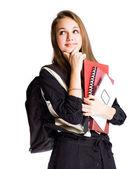 Menina bonita jovem estudante ponderando. — Foto Stock