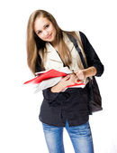 Attractive student girl studying. — Stock Photo