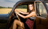 The rich gal and her car. — Stock Photo