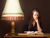 Studying until late at night. — Stock Photo