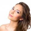 Beautiful young brunette in colorful makeup. — Stock Photo