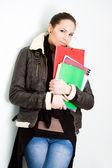 Vertrouwen jonge brunette college meisje. — Stockfoto
