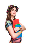 Very colorful young student. — Stock fotografie