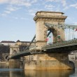 The Szechenyi Bridge in bright morning sunlight. — Stock Photo