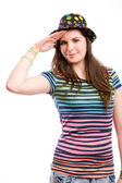 Young brunette girl doing funny salute. — Stock Photo