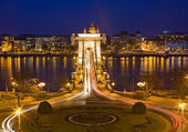 The famous historic Szechenyi Bridge in Budapest. — Stock Photo