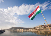 The Hungarian flag over river Danube. — Stock Photo