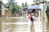Walking on Flood Waters — Stock Photo