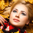 Beautiful blonde lies in autumn foliage — Stock Photo #8188050