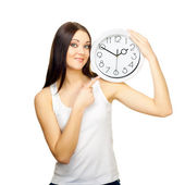 The girl with clock on a shoulder — Stock Photo