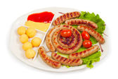 Fried sausage ring — Stock Photo