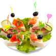 Selection of various canape — Foto de Stock