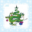 Stock Vector: New Year postcard with Christmas-tree - symbol 2012 funny dragon