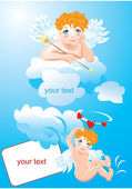 Postcards for Valentines Day with funny angels — Stock Vector