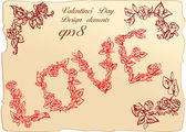 Set of vintage elements and vignettes for Valentine`s Day greeting — Stock Vector