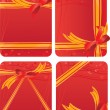 Set of gift cards - red backgrounds with hearts — Векторная иллюстрация