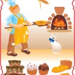 Young red haired baker with white cat next to fire place - Stock Vector