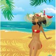 Girl on a tropical beach with straw hat — Imagen vectorial